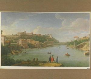 Gezicht op de Tiber en de Aventijn te Rome