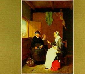 Interieur met twee vrouwen en een kind