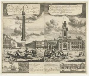 Demonstratie van een nieuw type brandspuit aan de voet van het monument van de grote brand van London