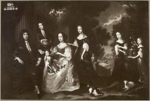 Groepsportret van Jacobus Scheltus en Maria van Steenhuysen en hun vijf kinderen