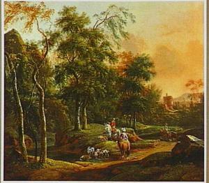 Italianiserend landschap met jagers te paard