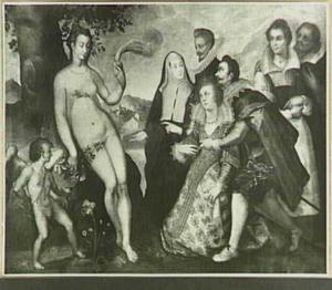 Allegorische voorstelling: Venus en Amor aanbeden door een bruidspaar in het bijzijn van enige familieleden
