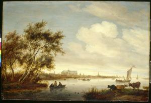 Rivierlandschap met de kerk van Alkmaar