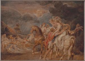 Aeneas helpt Dido af te stijgen om te schuilen voor het noodweer in de grot (Aenaeis)