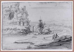 Rivierlandschap met brug, links een rots