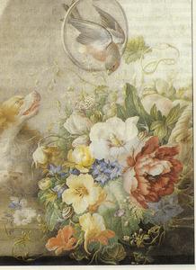 Stilleven met vruchten en bloemen in een mand op een steenen plint, links een hond die blaft naar een vogel in een ring