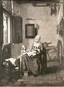 Interieur met naaiende vrouw en bellen blazend kind