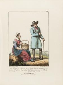 Een jonge boer en een landmeisje uit Den Bosch op weg naar de markt