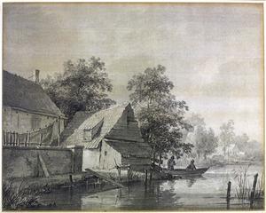 Huizen aaan de waterkant, met roeibootje en twee vissers