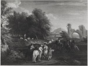 Landschap met ruiters, een herder en een ruïne