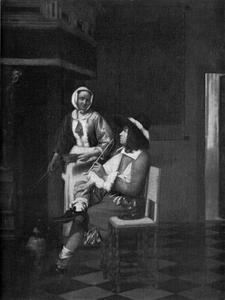 Man met een pijp en een vrouw met een vuurtest in een voornaam interieur