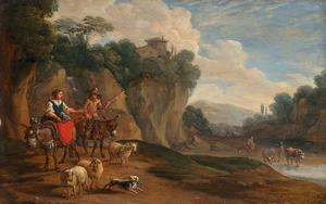 Berglandschap met herders