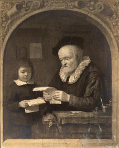 Oude schoolmeester en leerling