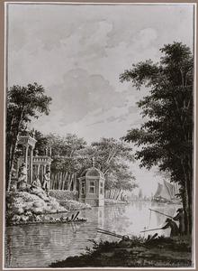 Gezicht over de Leidse Rijn bij Utrecht op de buitenplaats Oog in Al