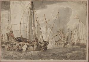 Oorlogsschepen op zee