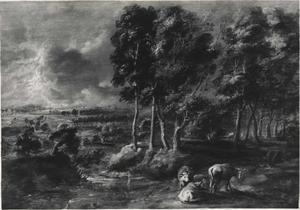 Stormachtig landschap met drie koeien