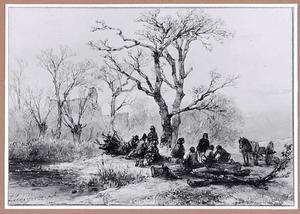 Winterlandschap met boeren rustend na het houtsprokkelen