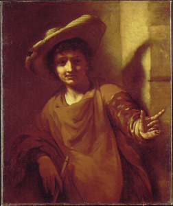 Jonge man met strohoed en fluit