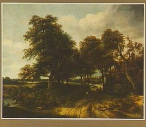 Boslandschap met halthoudende ruiters op een weg langs een herberg