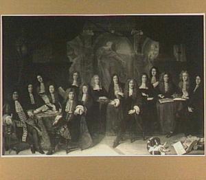 Groepsportret van de Haagse magistraat anno 1682; tegen het decor van  'Het Oordeel van Salomon'