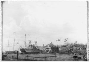 """De te water lating van het fregatschip """"Olivier van Noort"""" op de scheepswerf Hollandia te Amsterdam op 14 juli 1828"""