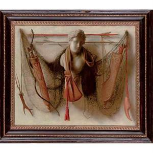 Trompe-l'oeil met jachtattributen en marmeren borstbeeld