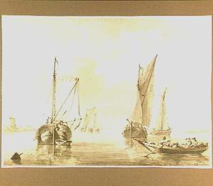 Vissersboten bij de ruïne van het Huis te Merwede bij Dordrecht