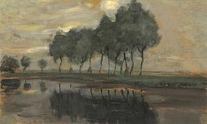 Bend in the Gein with row of eleven poplars III