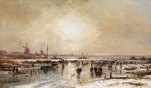 Weids winterlandschap met ijsvermaak op de voorgrond, een grote stad aan de horizon