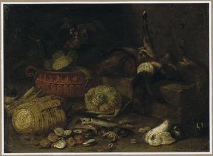 Stilleven van schelpen, vis, groenten en jachtbuit