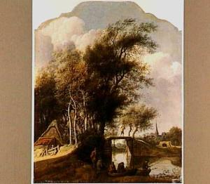 Landschap met vissers bij een brug (in de verte Haarlem)