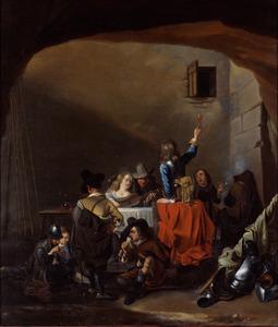 Drinkende soldaten in een wachtlokaal