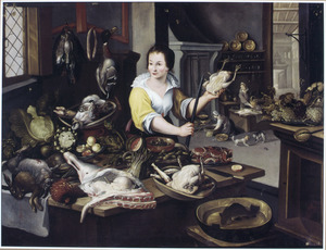Keukentafereel met een keukenmeid met kip en braadspit