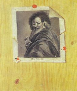 Trompe l'oeil stilleven met prent 'Democritus' van Antoine Coypel