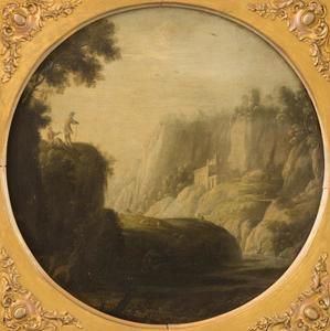 Berglandschap met twee reizigers op een rotspunt