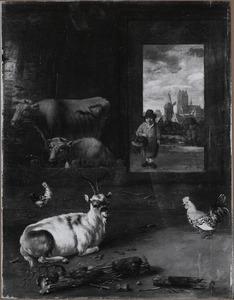 Stalinterieur met een doorkijk naar een stadsgezicht met de kerk van Dordrecht