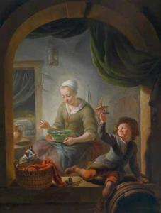 Jonge vrouw met een kom soep en een jongen met een muizenval in de vensterbank