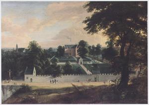 Landschap met gezicht op een door tuinen omringd kasteel