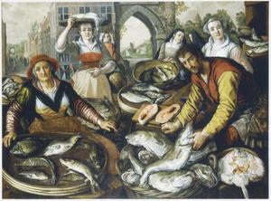 De vier elementen: Water: viskraam met in de achtergrond de wonderbaarlijke visvangst