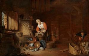 Schuur interieur met huisraad en een boerenfamilie