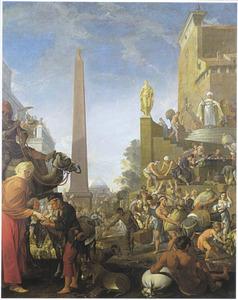 Jozef laat de Egyptenaren graan en brood ruilen tegen vee (Genesis 47: 16-17)