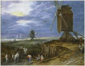 Uitgestrekt landschap met molens, boeren en karren op de voorgrond