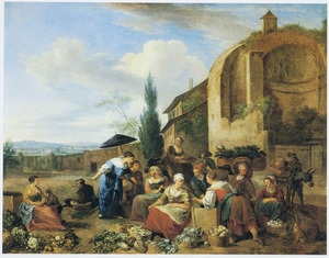 Groentenmarkt bij de muren van een italiaanse stad