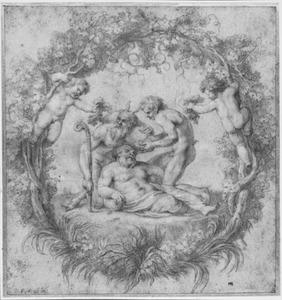 Dronken Silenus, Pan en sater omringd door wijnranken