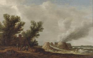 Landschap met boerderij en kalkovens