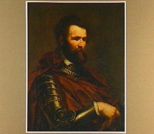 Portret van een man in een harnas, ten halven lijve