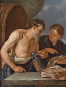 Diogenesop de markt van Athene op zoek naar een mens