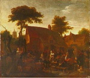 Drinkende en feestende boeren voor een herberg