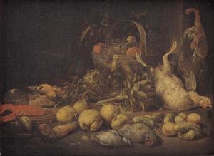 Stilleven met  gevogelte, vruchten en groente en een kreeft