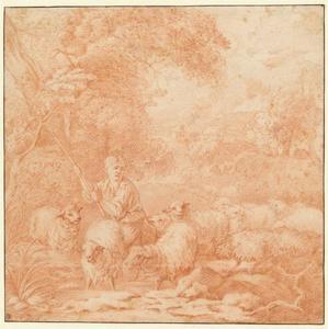 Herdersjongen  met kudde in een boslandschap